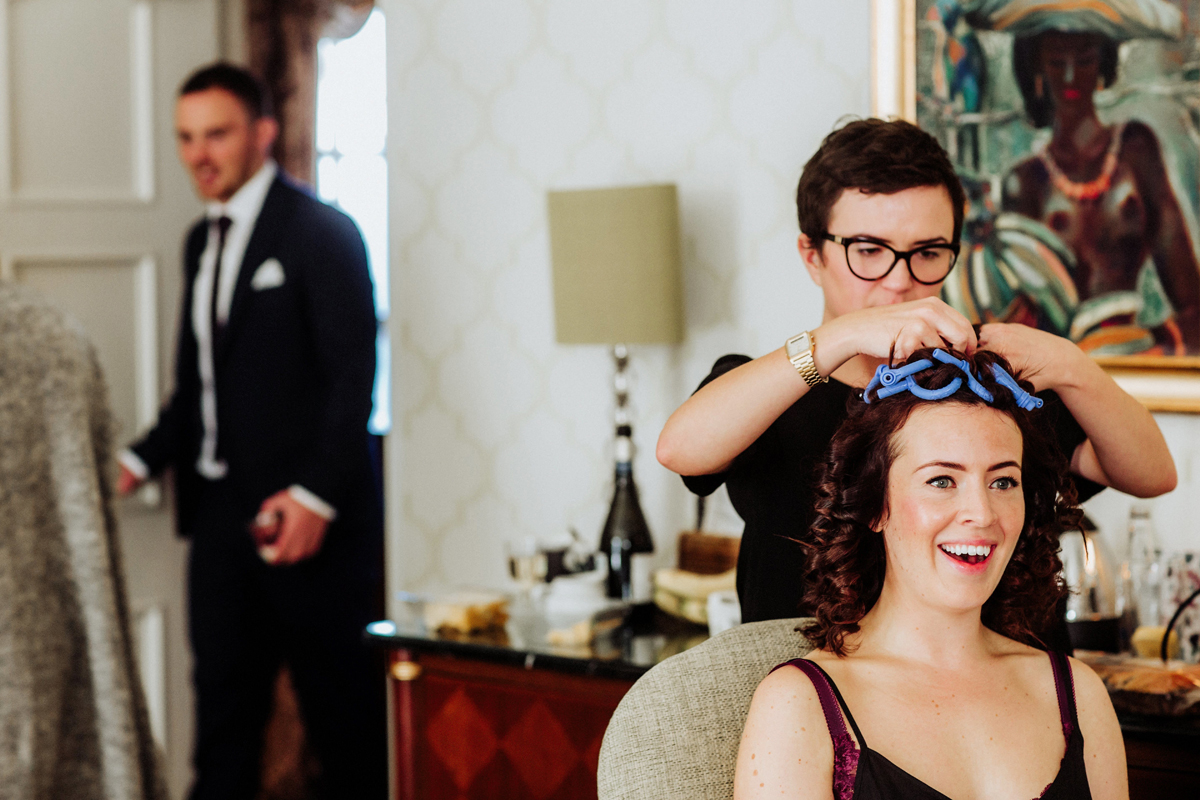 glossy natural curls hair flawless makeup vineyard hotel berkshire wedding steve gerrard