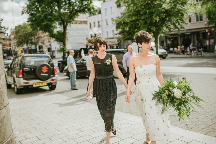 no make up make up short haired eurasian bride natural wedding erdem wedding dress inspiration london