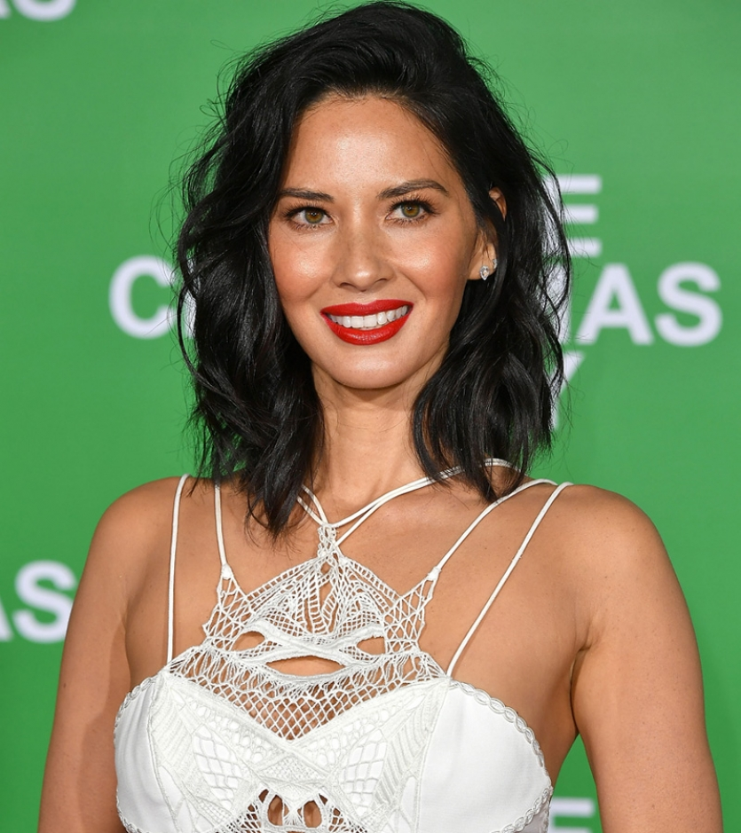 Olivia Munn red carpet make up red lip