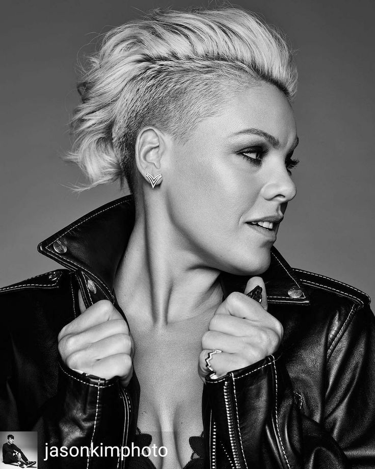 pink alicia moore hair style shaved hair natural pretty makeup androgynous black and white
