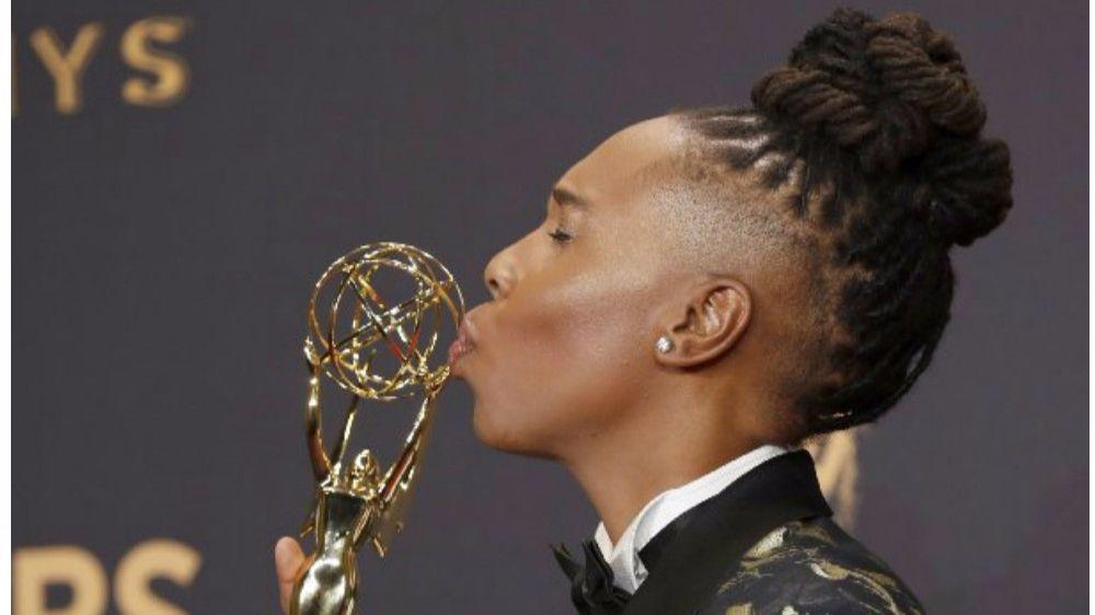 lena waithe the emmys afro braids androgynous look