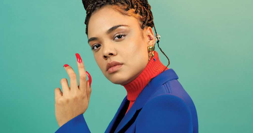 tessa mae thompson 90s inspired hair up editorial braids natural glossy makeup and skin