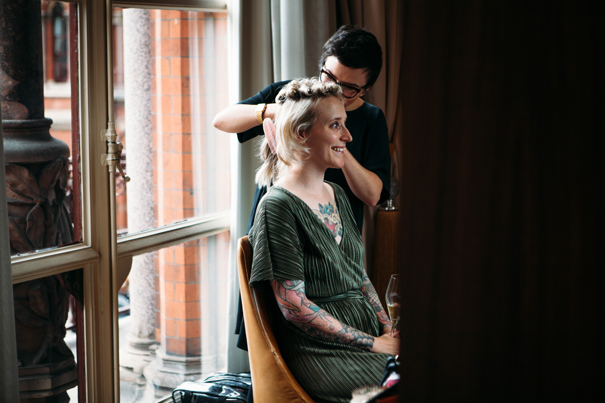 bridal prep hampton court hair and makeup artist kylie mcmichael tattooed blonde alternative bridal inspiration islington st pancras wedding