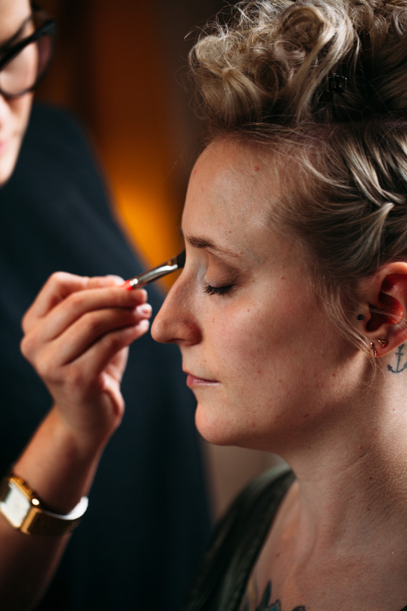 eye shadow makeup application alternative bride blonde hair up st pancras renaissance hotel islington town hall wedding