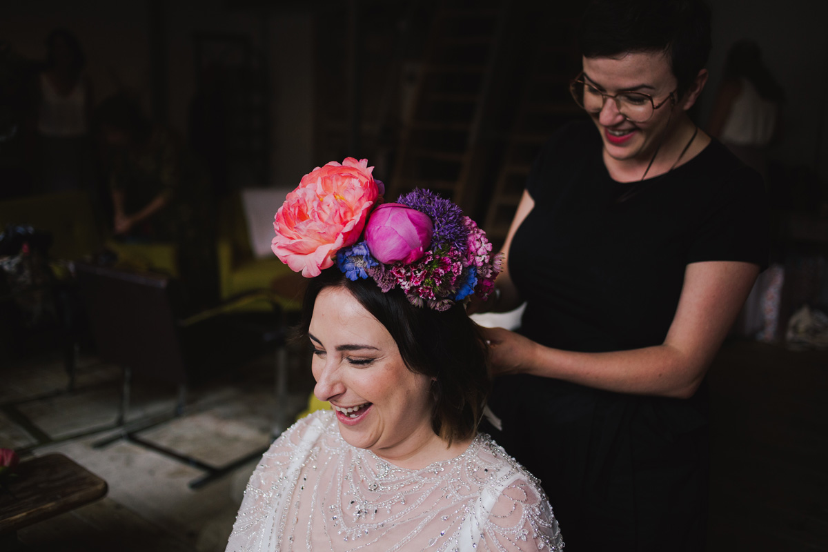 boho modern textured wedding hair and makeup red lipstick clapton london massive flower crown