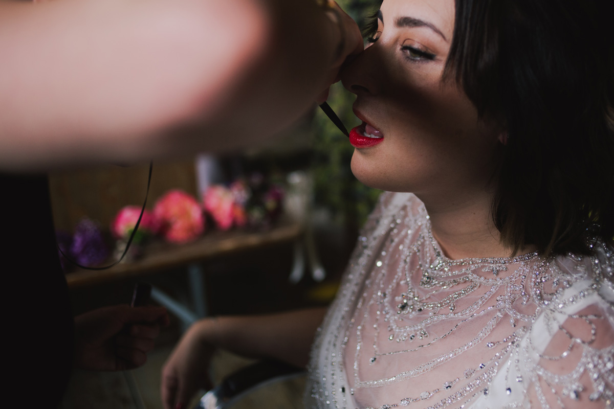 boho modern textured wedding hair and makeup red lipstick clapton london