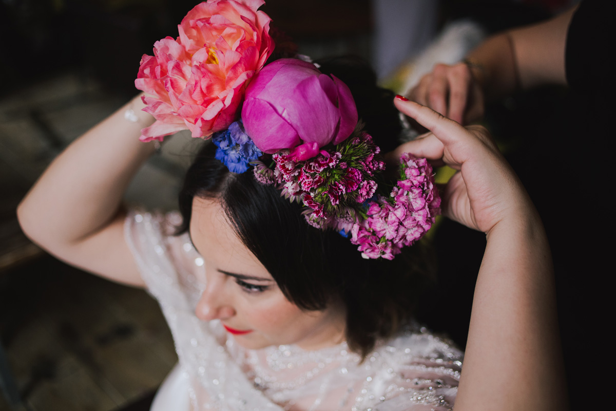 boho modern textured wedding hair and makeup red lipstick clapton london massive flower crown rebel rebel