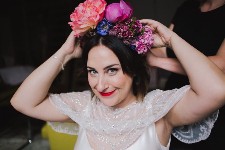 boho alternative short wedding hair bridal makeup for brunettes clapton country club flower crown urban city wedding charlie brear gown