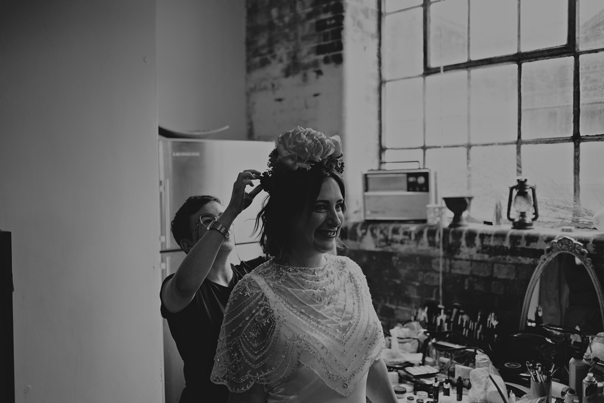 black and white bridal portrait boho alternative short wedding hair bridal makeup for brunettes clapton country club flower crown
