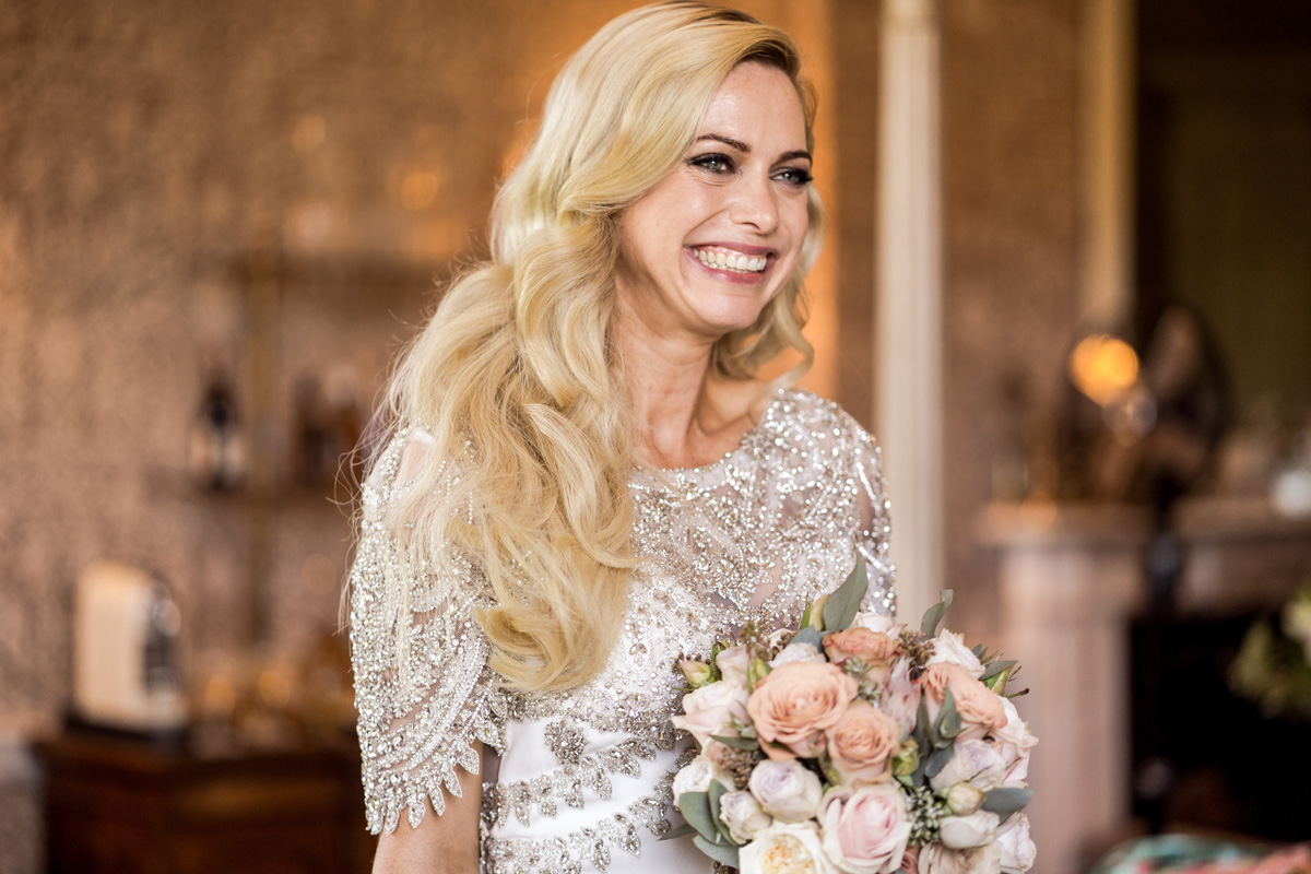 sparkly smokey eye wedding makeup look soft romantic waves hair style vintage inspired bridal prep makeup artist richmond london oxford somerset berkshire atelier pronovias real bride