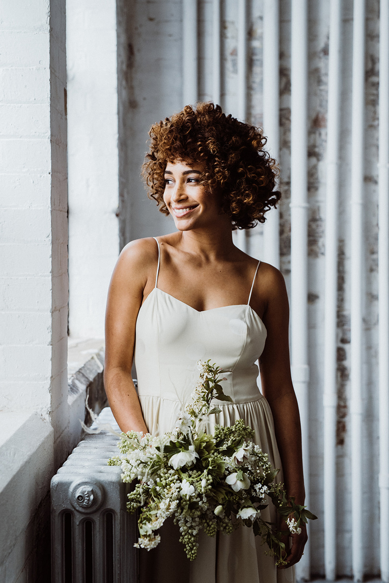 modern minimalist bridal style afro hair curls natural makeup freckles kylie mcmichael makeup artist south west london richmond hampton court