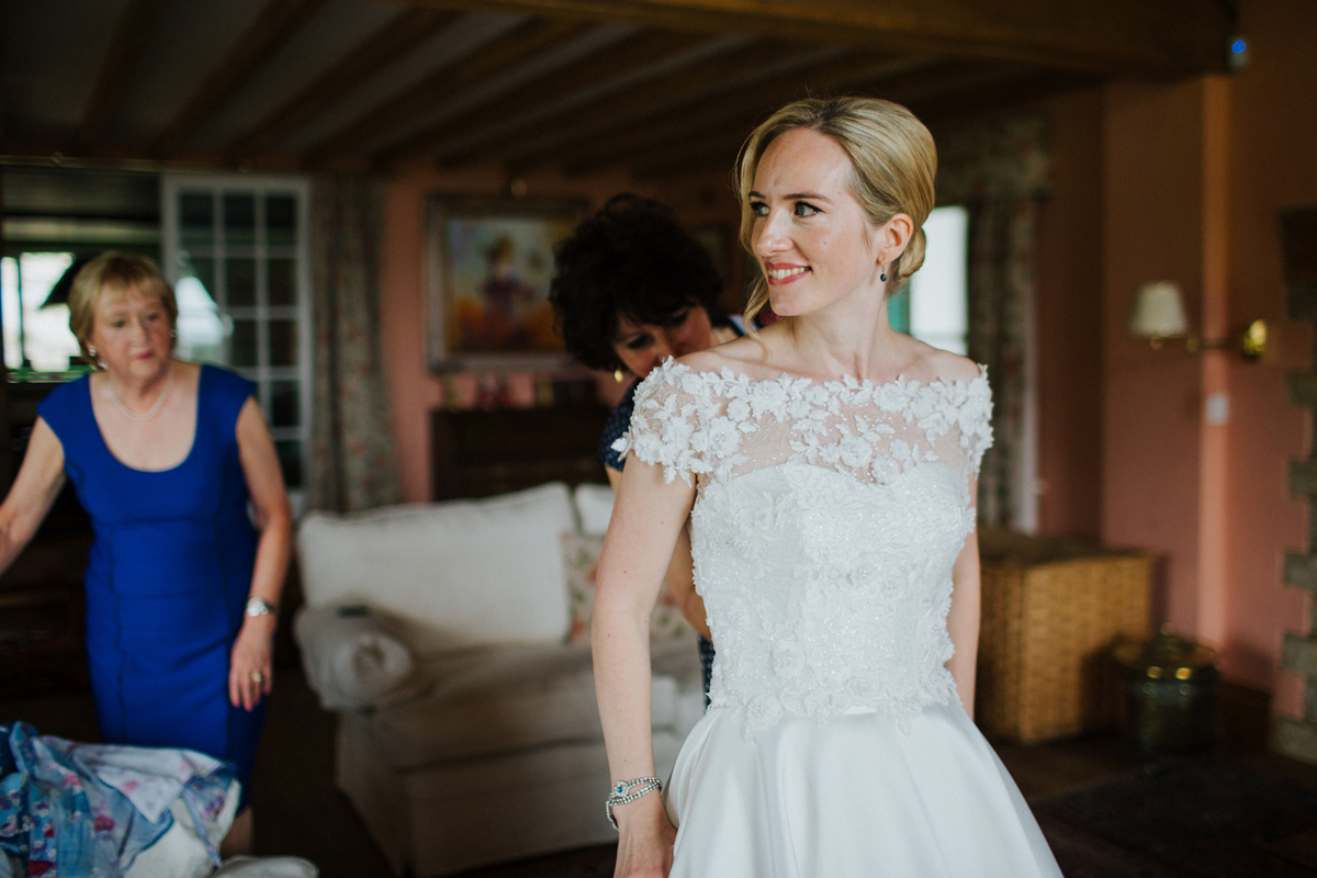 chic up do with side parting wedding hair style, classic naturally radiant no makeup makeup bride london sussex hampshire berkshire buckinghamshire