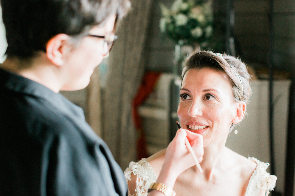 SUBTLE, SHIMMERY GOLD EYES, A BRIGHT RED LIP AND CROPPED HAIR FOR A SOMERSET BRIDE