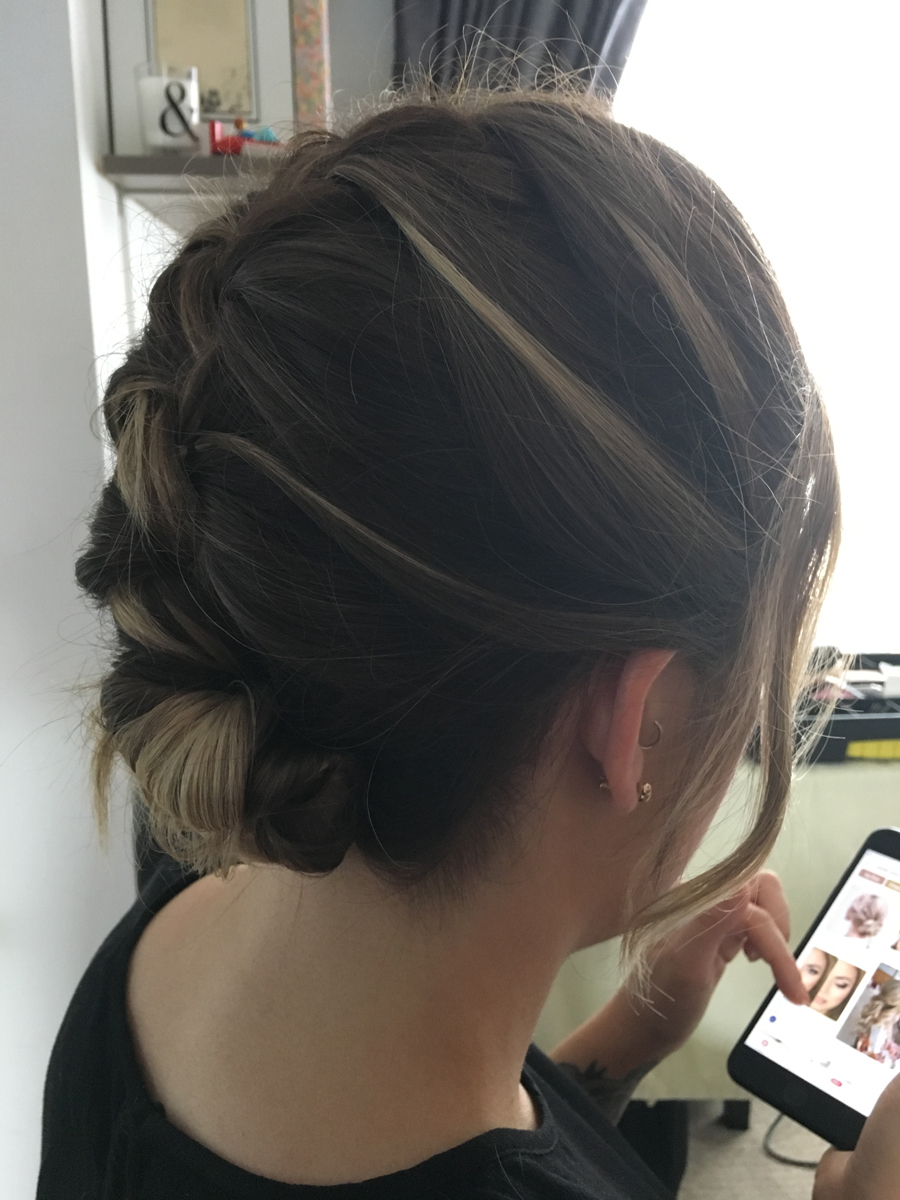 french plait knot bun wedding hair style london surrey middlesex hampshire berkshire