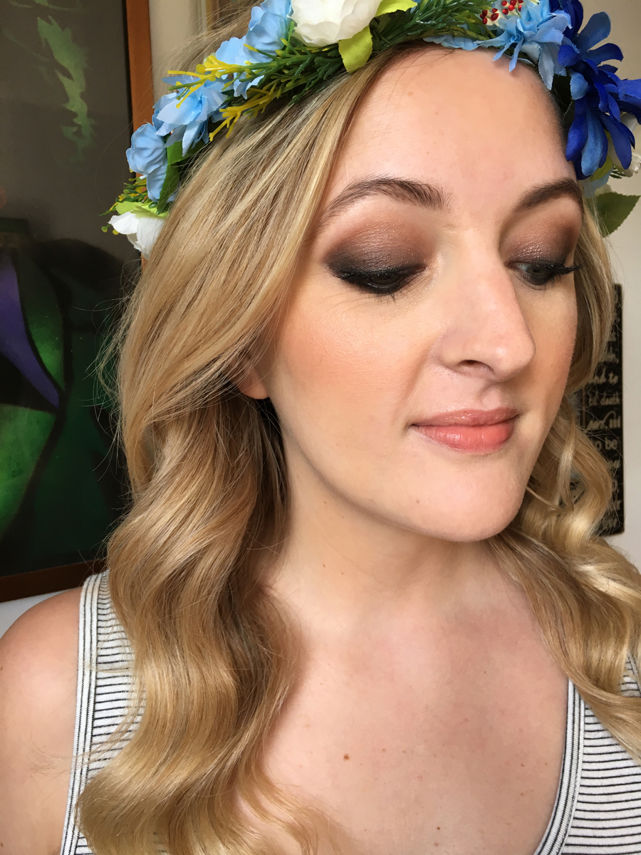 modern boho wavy wedding hair style bronze copper brown smokey eye bridal makeup london surrey sussex hampshire berkshire