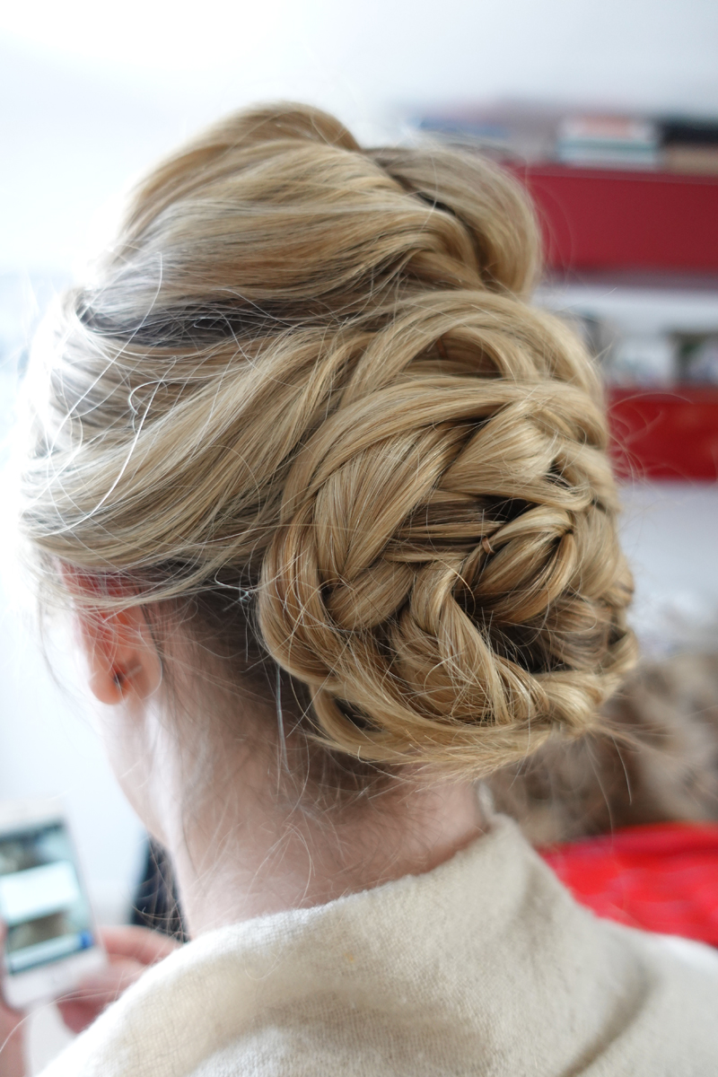 chich wavy plait twist low up do wedding hair style